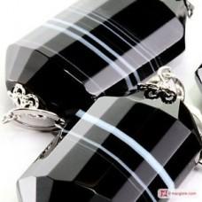 Collana Agata nera striata barilotti in Argento