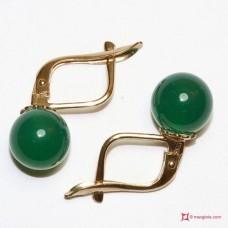 Orecchini Agata verde 8mm Oro 18K