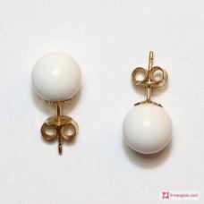 Orecchini Agata bianca 8½mm Oro 18K