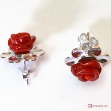 Orecchini Rosa Coralloide Bambu rosso in Argento
