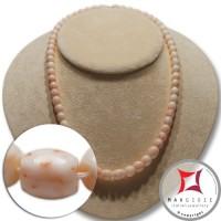 Collana Corallo bianco rosato Extra barilotti graduati 6-10mm in Oro 18K