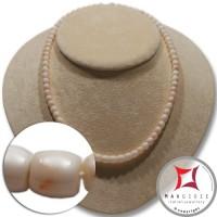 Collana Corallo bianco rosato Extra barilotti graduati 5-7mm in Oro 18K