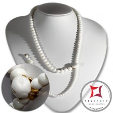 Collana Corallo bianco Extra incisione serpente pallini 6-8½mm in Oro 18K