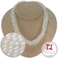 Collana Corallo bianco Extra Torchon 10 fili pallini 3½mm in Oro 18K