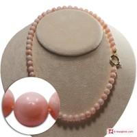 Collana Corallo rosa Extra pallini 8-8½mm in Oro 18K
