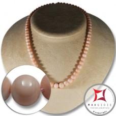 Collana Corallo rosa pelle d'angelo Extra pallini 6-9mm in Oro 18K