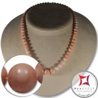 Collana Corallo rosa pelle d'angelo Extra pallini 5½-11½mm in Oro 18K