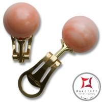 Orecchini Corallo rosa skin tone Extra 11-11¾mm in Oro 18K clip [vari diametri]