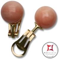 Orecchini Corallo rosa skin tone Extra 12-12¾mm in Oro 18K clip [vari diametri]