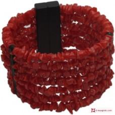 Bracciale Corallo rosso del Mediterraneo spezzatini 7 fili