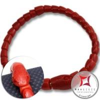 Bracciale Corallo rosso del Mediterraneo Extra incisione serpente in Oro 18K