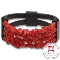 Bracciale Corallo rosso ed Ebano spezzatini 4 fili id1007