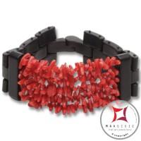 Bracciale Corallo rosso ed Ebano spezzatini 5 fili id1009