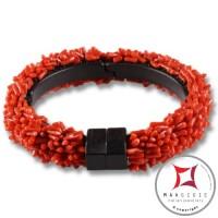 Bracciale Corallo rosso ed Ebano spezzatini 5 fili id1010