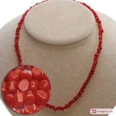 Collana Corallo rosso del Mediterraneo cupolini 5mm in Oro 18K