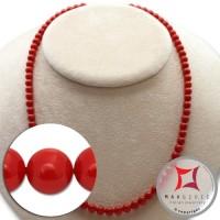 Collana Corallo rosso Extra Dark Color pallini 5½-6mm in Oro 18K