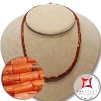 Collana Corallo rosso del Mediterraneo cannettine 8x4½mm  in Oro 18K