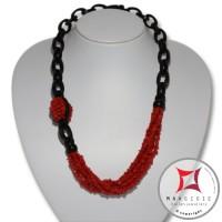 Collana Corallo rosso Ebano spezzatini 6 Fili id2309