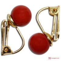 Orecchini Corallo rosso Extra 7-7¾mm in Oro 18K clip [vari diametri]