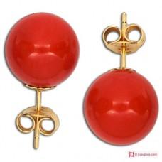 Orecchini Corallo rosso Extra 9-9¾mm in Oro 18K [vari diametri]