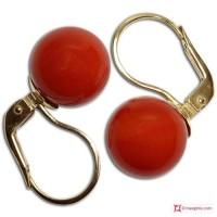 Orecchini Corallo rosso Extra 10-10¾mm in Oro 18K mmg [vari diametri]