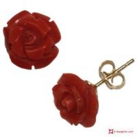 Orecchini Corallo rosso Extra rose 10mm in Oro 18K [varie chiusure]