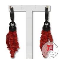 Orecchini Corallo rosso ed Ebano 2 fili Id2304