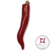 Pendente Corallo rosso Extra cornetto grande design napoletano in Oro 18K id2180