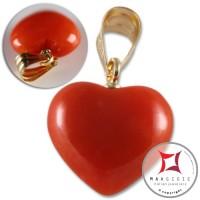 Pendente Corallo rosso Extra 6mm cuore in Oro 18K d2185