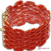 Bracciale Corallo rosso Extra Cerasuolo navetta 6 file in Oro giallo 18K