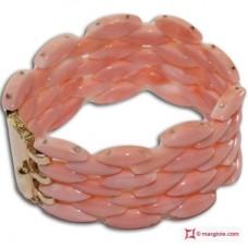 Bracciale Corallo rosa Extra navetta 4 file in Oro giallo 18K