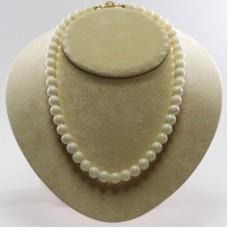 Collana Corallo bianco Extra 9½-10mm in Oro 18K