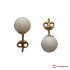 Orecchini Corallo bianco Extra 7-7½mm in Oro 18K