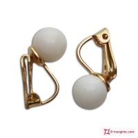 Orecchini Corallo bianco Extra 7-7½mm in Oro 18K clip