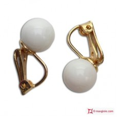 Orecchini Corallo bianco Extra 8-8½mm in Oro 18K clip