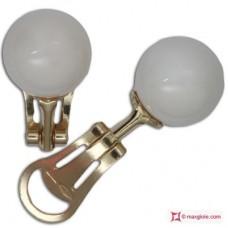 Orecchini Corallo bianco Extra 10½-11mm in Oro 18K clip g