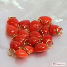 Pendente Corallo rosso del Mediterraneo Cuore medio