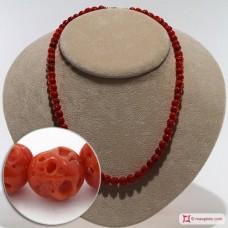 Collana Corallo rosso del Mediterraneo pallini mush 6½-7½mm in Oro 18K