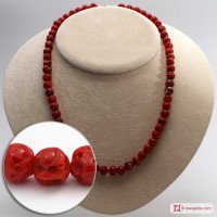 Collana Corallo rosso del Mediterraneo pallini mush 7½-8½mm in Oro 18K