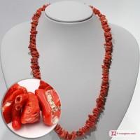 Collana Corallo rosso del Mediterraneo spezzatini II ±60g in Argento