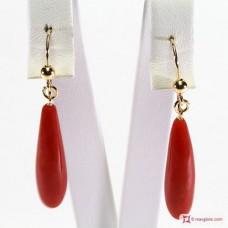 Orecchini Corallo rosso Extra goccia 7¾x28½mm in Oro 18K