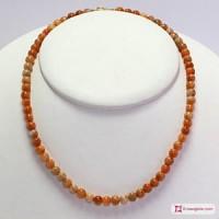 Collana Calcite arancio pallini 5½-6mm in Argento