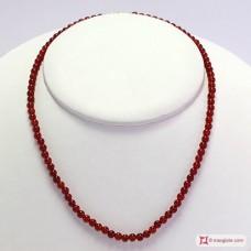 Collana Agata rossa pallini 4mm in Argento