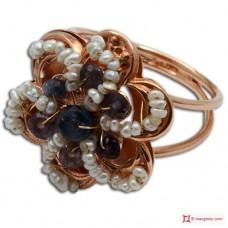 Anello Vintage Toppa [Iolite, Perle] in Argento 925 placcato Oro