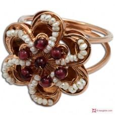 Anello Vintage Toppa [Granato, Perle] in Argento 925 placcato Oro
