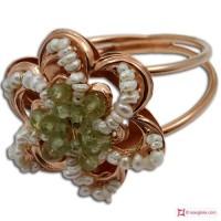 Anello Vintage Toppa [Peridoto, Perle] in Argento 925 placcato Oro