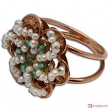 Anello Vintage Toppa [Agata Verde, Perle] in Argento 925 placcato Oro
