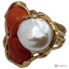 Anello etrusco Corallo rosso Perle in Argento 925 placcato Oro [scelte multiple]
