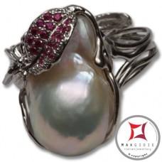 Anello etrusco Perle Zirconi Foglie in Argento 925 id0024