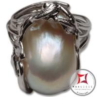 Anello etrusco Perle Foglie in Argento 925 id0025